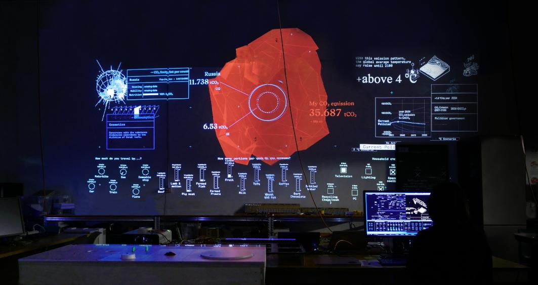 """© Dotdotdot per MAAT: prototipo in scala 1:1 in studio a Milano dell'installazione interattiva """"The CO2 Mixer"""" realizzata in collaborazione con EDP Innovation e grazie ai dati forniti da IEA (International Energy Agency), EDP Sustainability, FAO"""