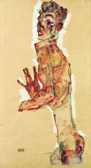 Egon Schiele, Autoritratto con dita aperte, 1911,  Matita e gouache, evidenziate in bianco, su carta,  28 x 52,5 cm, Leopold Museum, Vienna   Photo Art Collection 2/Alamy Stock Photo